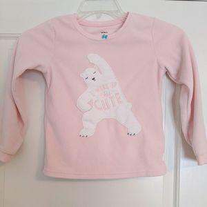 3/15 Carter's Pink Polar Bear Fleece PJ Top